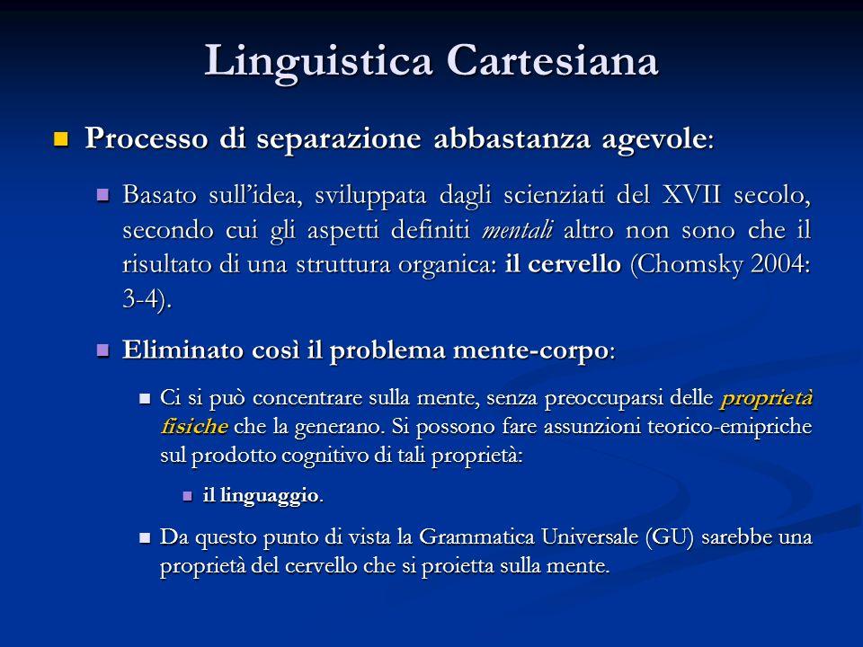 Linguistica Cartesiana Processo di separazione abbastanza agevole: Processo di separazione abbastanza agevole: Basato sullidea, sviluppata dagli scien