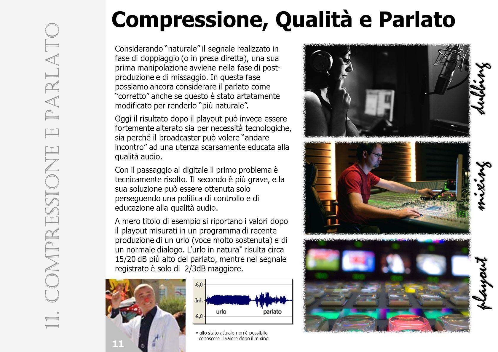 Compressione, Qualità e Parlato 11 11. COMPRESSIONE E PARLATO dubbing mixing playout Considerando naturale il segnale realizzato in fase di doppiaggio