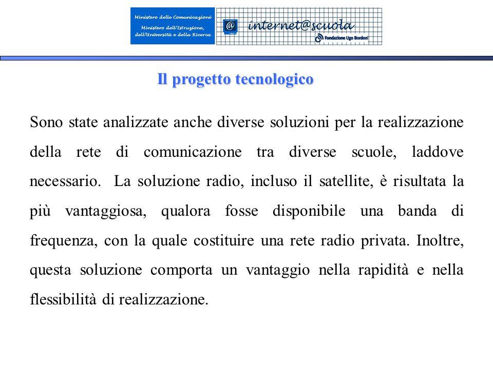 17 Il progetto tecnologico Sono state analizzate anche diverse soluzioni per la realizzazione della rete di comunicazione tra diverse scuole, laddove necessario.
