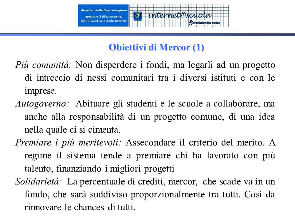 23 Obiettivi di Mercor (1) Più comunità: Non disperdere i fondi, ma legarli ad un progetto di intreccio di nessi comunitari tra i diversi istituti e con le imprese.
