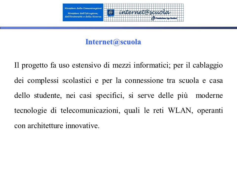3 Il progetto fa uso estensivo di mezzi informatici; per il cablaggio dei complessi scolastici e per la connessione tra scuola e casa dello studente, nei casi specifici, si serve delle più moderne tecnologie di telecomunicazioni, quali le reti WLAN, operanti con architetture innovative.