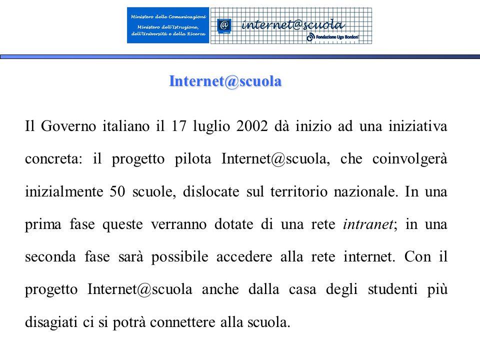 9 Internet@scuola Il Governo italiano il 17 luglio 2002 dà inizio ad una iniziativa concreta: il progetto pilota Internet@scuola, che coinvolgerà inizialmente 50 scuole, dislocate sul territorio nazionale.