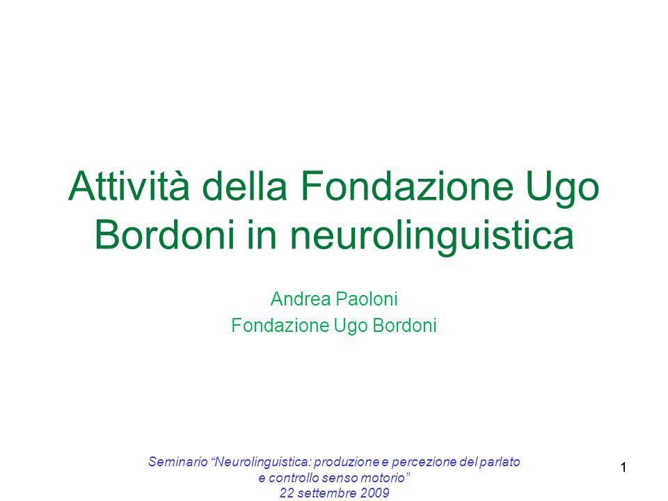 1 Attività della Fondazione Ugo Bordoni in neurolinguistica Andrea Paoloni Fondazione Ugo Bordoni 1 Seminario Neurolinguistica: produzione e percezion