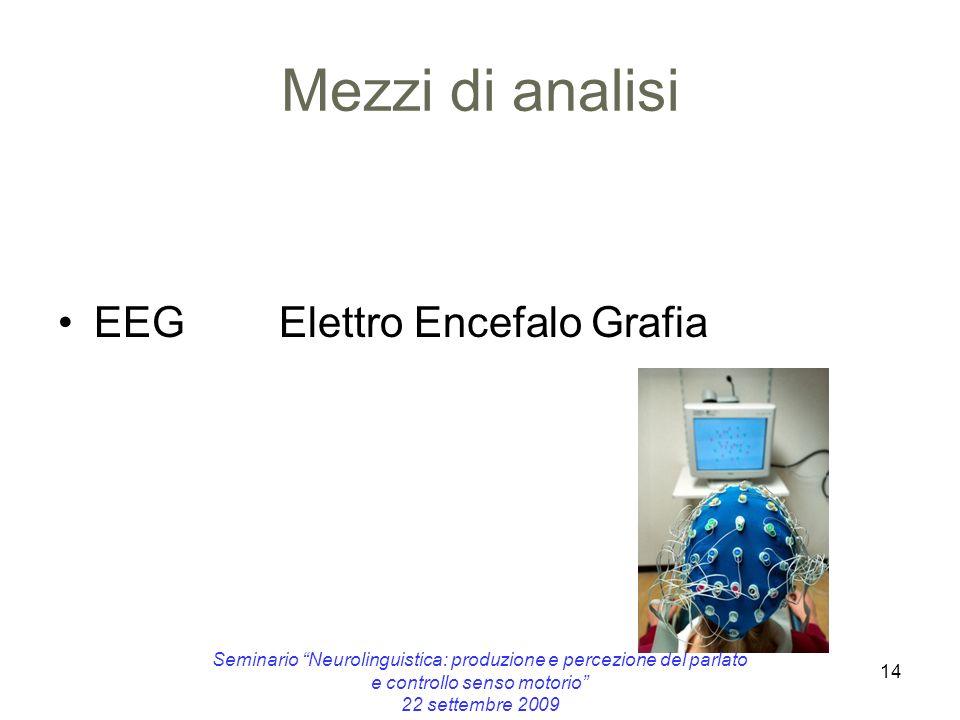 14 Mezzi di analisi EEG Elettro Encefalo Grafia Seminario Neurolinguistica: produzione e percezione del parlato e controllo senso motorio 22 settembre