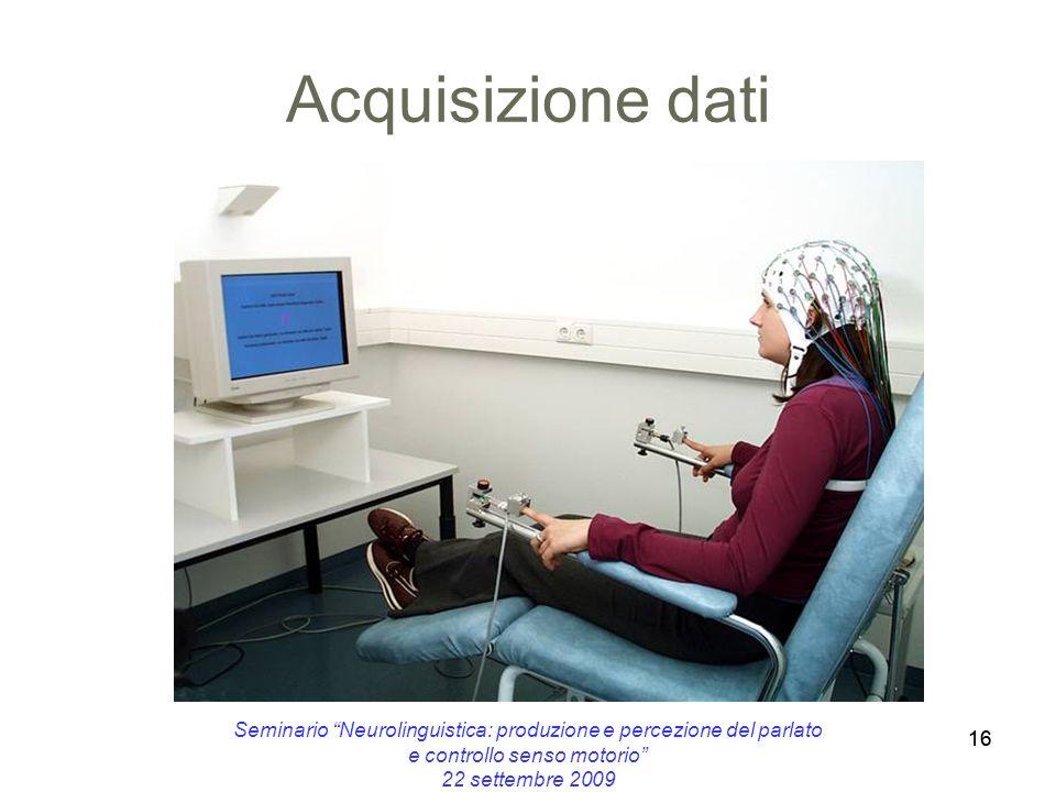 16 Acquisizione dati 16 Seminario Neurolinguistica: produzione e percezione del parlato e controllo senso motorio 22 settembre 2009