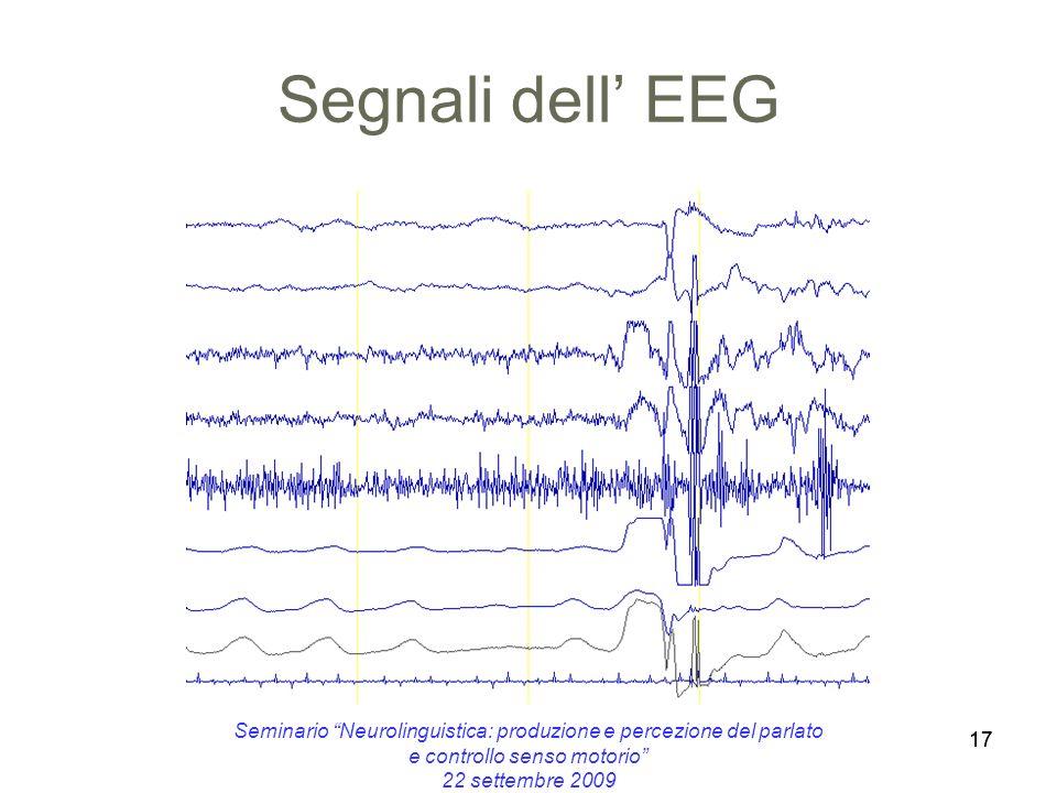 17 Segnali dell EEG 17 Seminario Neurolinguistica: produzione e percezione del parlato e controllo senso motorio 22 settembre 2009
