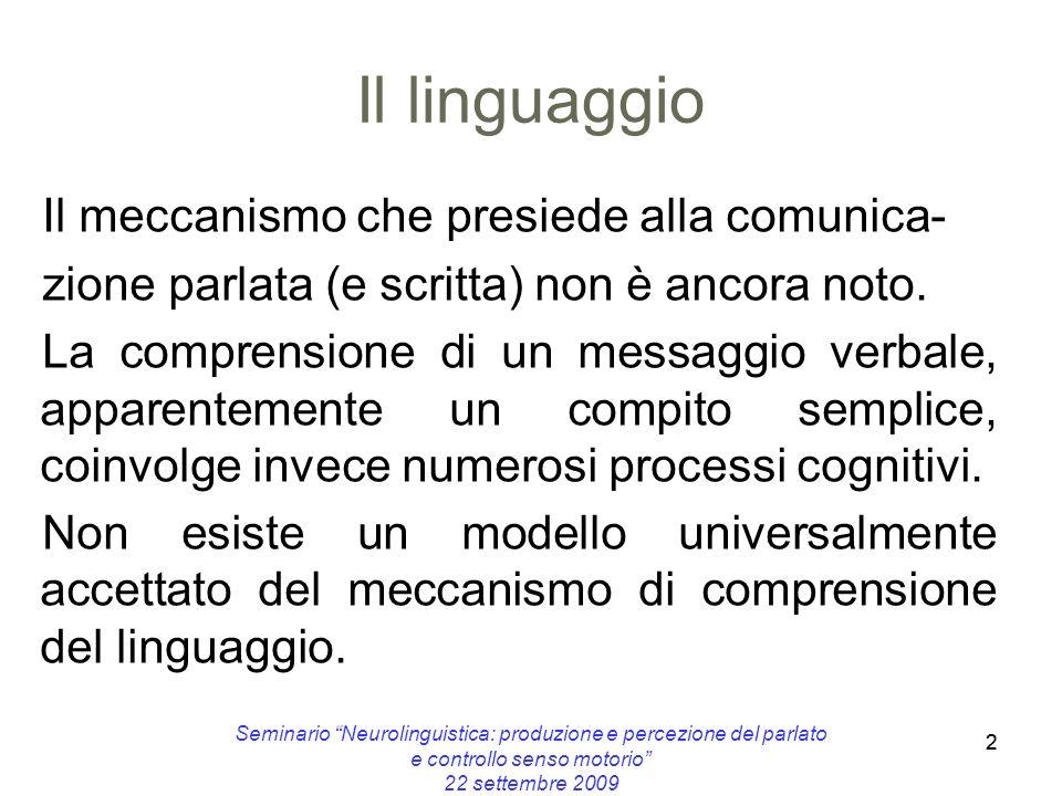 2 Il linguaggio Il meccanismo che presiede alla comunica- zione parlata (e scritta) non è ancora noto. La comprensione di un messaggio verbale, appare
