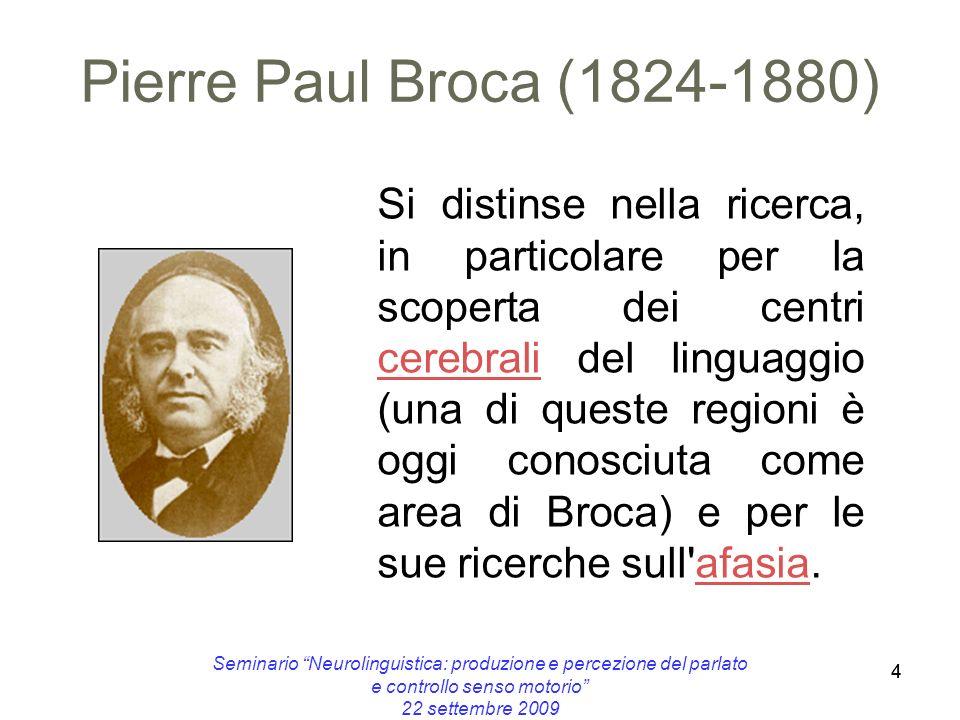 44 Seminario Neurolinguistica: produzione e percezione del parlato e controllo senso motorio 22 settembre 2009 Pierre Paul Broca (1824-1880) Si distin