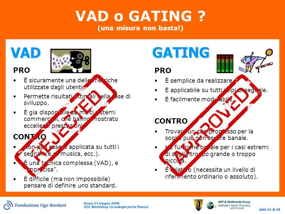 Roma 11 Giugno 2008 VIII Workshop Tecnologie per la Musica slide 16 di 28 VAD o GATING .