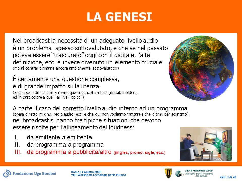 Roma 11 Giugno 2008 VIII Workshop Tecnologie per la Musica slide 3 di 28 LA GENESI adeguato Nel broadcast la necessità di un adeguato livello audio è un problema spesso sottovalutato, e che se nel passato poteva essere trascurato oggi con il digitale, lalta definizione, ecc.