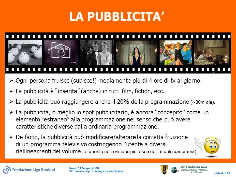 Roma 11 Giugno 2008 VIII Workshop Tecnologie per la Musica slide 4 di 28 LA PUBBLICITA più di 4 ore Ogni persona fruisce (subisce!) mediamente più di 4 ore di tv al giorno.