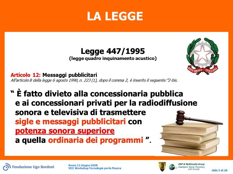 Roma 11 Giugno 2008 VIII Workshop Tecnologie per la Musica slide 5 di 28 LA LEGGE Legge 447/1995 (legge quadro inquinamento acustico) Articolo 12: Messaggi pubblicitari All articolo 8 della legge 6 agosto 1990, n.