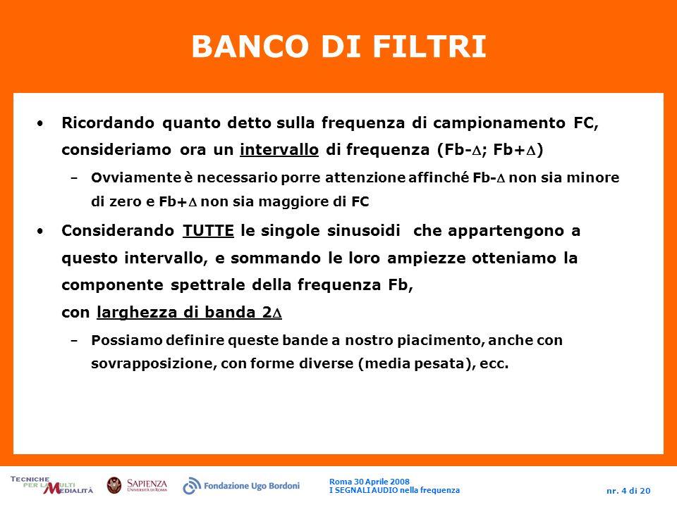 Roma 30 Aprile 2008 I SEGNALI AUDIO nella frequenza nr.