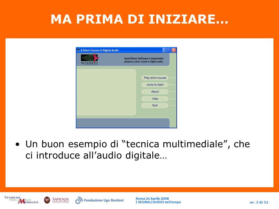 Roma 21 Aprile 2008 I SEGNALI AUDIO nel tempo nr. 14 di 32 IL SEGNALE NUMERICO (step1: lAMPIEZZA)