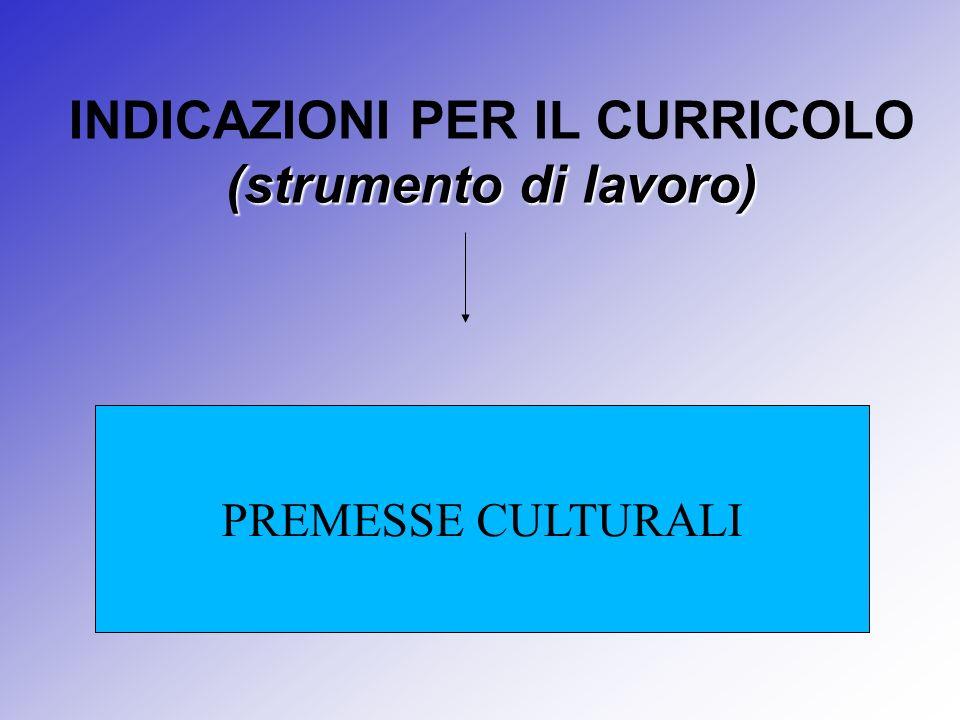 (strumento di lavoro) INDICAZIONI PER IL CURRICOLO (strumento di lavoro) PREMESSE CULTURALI