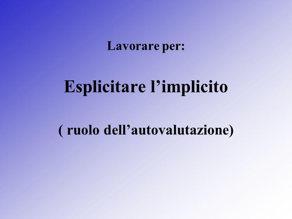 Lavorare per: Esplicitare limplicito ( ruolo dellautovalutazione)