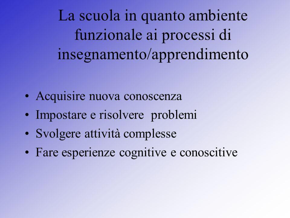 La scuola in quanto ambiente funzionale ai processi di insegnamento/apprendimento Acquisire nuova conoscenza Impostare e risolvere problemi Svolgere a