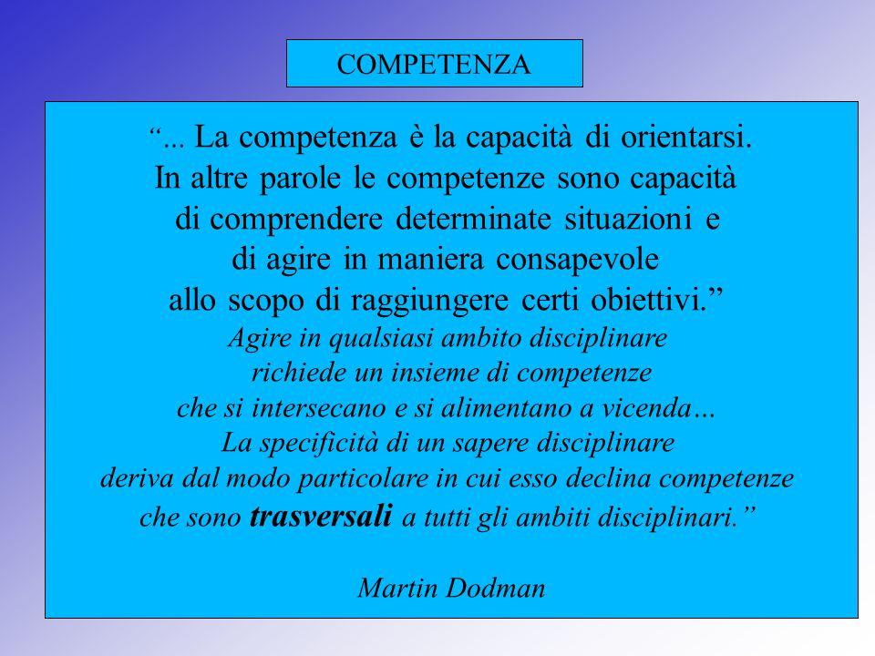 COMPETENZA … La competenza è la capacità di orientarsi. In altre parole le competenze sono capacità di comprendere determinate situazioni e di agire i