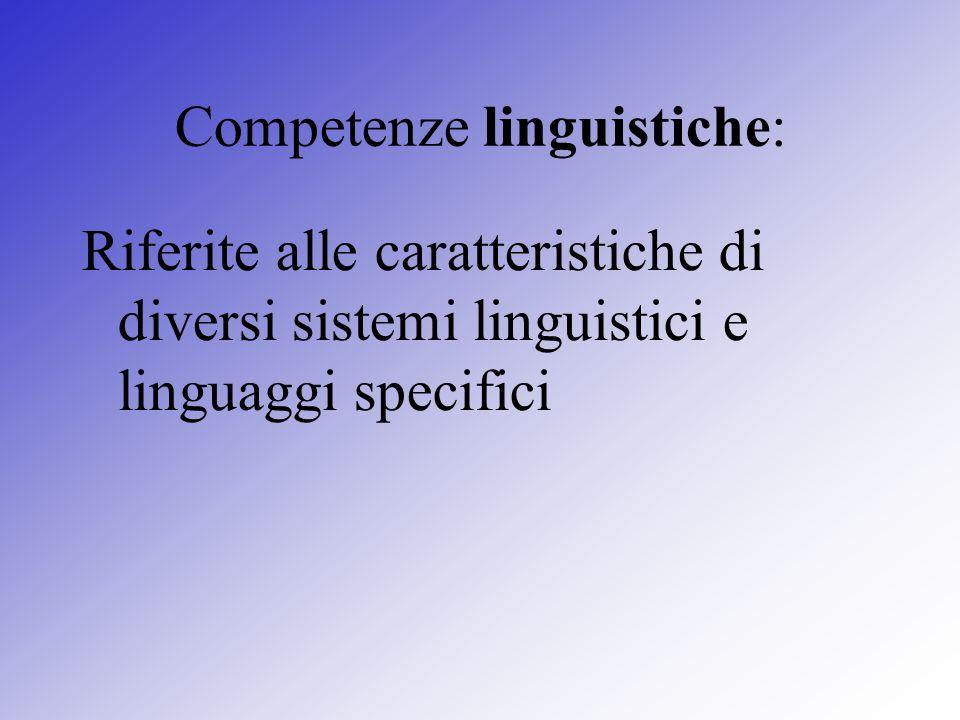 Competenze linguistiche: Riferite alle caratteristiche di diversi sistemi linguistici e linguaggi specifici
