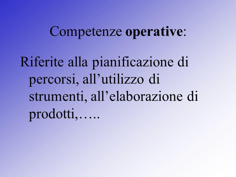 Competenze operative: Riferite alla pianificazione di percorsi, allutilizzo di strumenti, allelaborazione di prodotti,…..