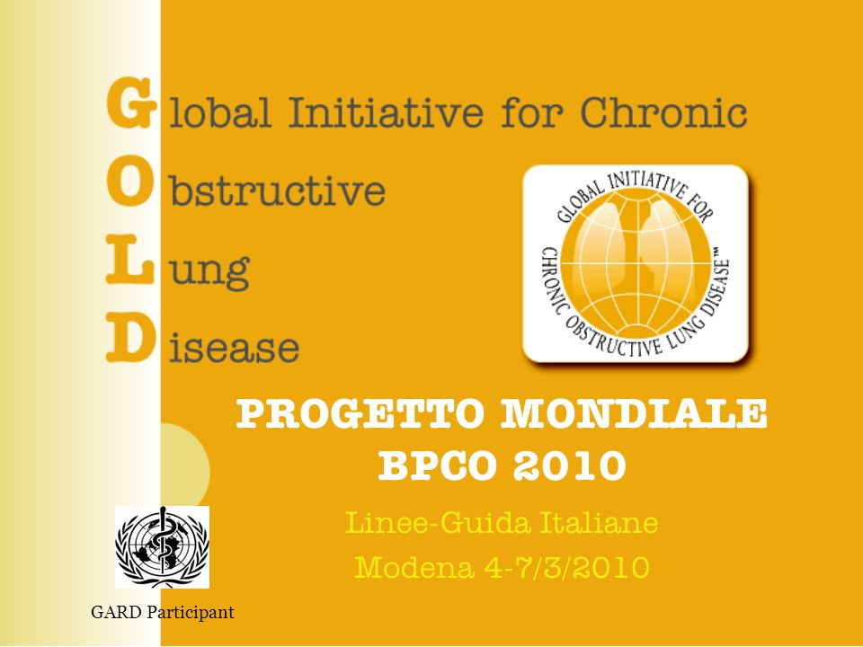 PROGETTO MONDIALE BPCO Struttura © 2010 PROGETTO LIBRA www.goldcopd.it 2 GOLD Executive Committee Roberto Rodriguez Roisin, MD – Chair Antonio Anzueto, MD – Vice-Chair (Representing ATS) Observer: Mark Woodhead (Representing ERS) Science Committee Jorgen Vestbo, MD, PhD - Chair Dissemination/Implementation Task Group Christine Jenkins, MD - Chair GOLD National Leaders - GNL