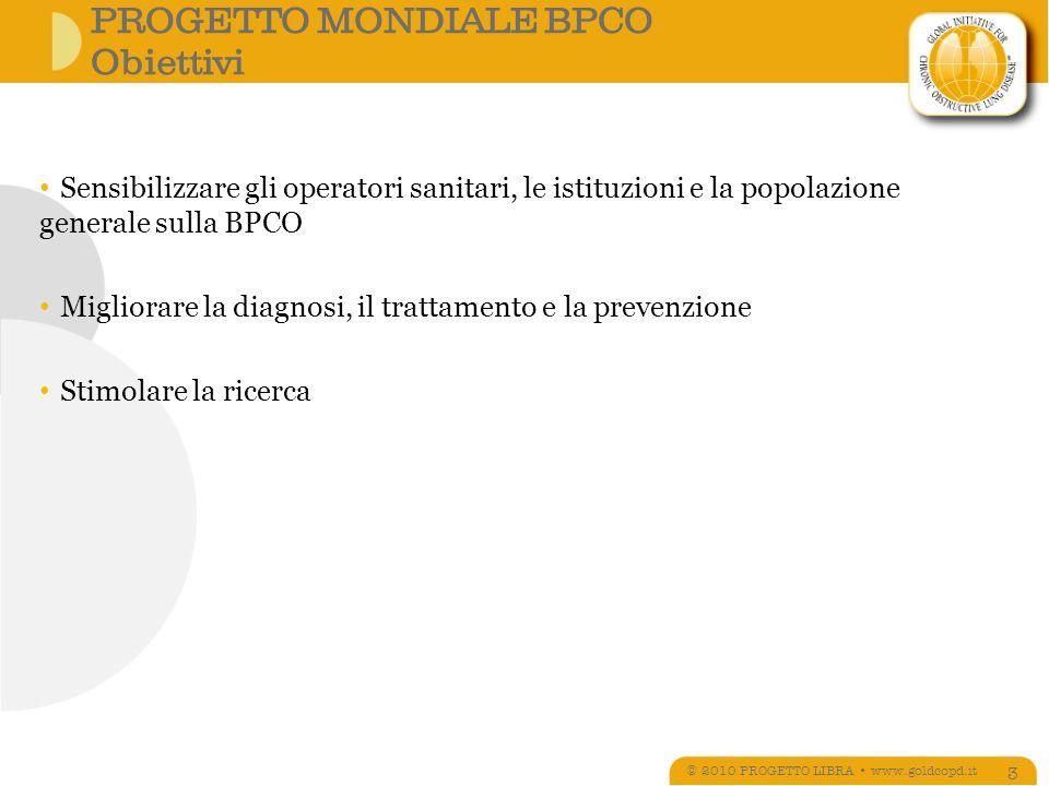 Classificazione spirometrica(*) di gravità della BPCO © 2010 PROGETTO LIBRA www.goldcopd.it 14 STADIOCARATTERISTICHE I LIEVEVEMS/CVF < 0.7; VEMS 80% del teorico II MODERATA VEMS/CVF< 0.7; 50% VEMS < 80% III GRAVE VEMS/CVF < 0.7; 30% VEMS < 50% IV MOLTO GRAVE VEMS/CVF < 0.7; VEMS < 30% del teorico o VEMS < 50% del teorico in presenza di insufficienza respiratoria (PaO 2 < 60 mmHg) (*) Basata sulla spirometria post-broncodilatatore