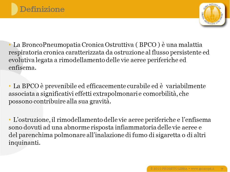 BPCO fumatore: OCCASIONI DI INTERVENTO © 2010 PROGETTO LIBRA www.goldcopd.it 98 Un intervento di tipo intensivo eseguito durante il ricovero in ospedale seguito da un periodo di follow up di un mese sembra essere efficace nel promuovere la disassuefazione dal fumo NA Rigotti, MR Munafò, LF Stead Interventions for smoking cessation in hospitalized patients Cochrane Database Syst rev 2007, 3: 1 – 28 Sundbland BM et al, High rate of smoking abstinence in COPD patients: smoking cessation by hopsitalisation.