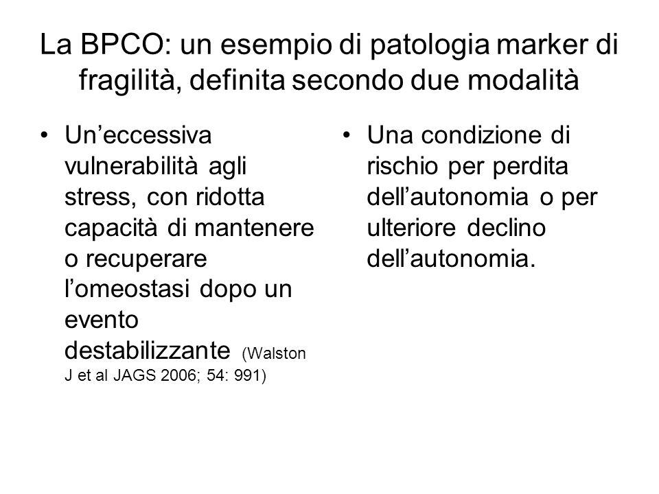 La BPCO: un esempio di patologia marker di fragilità, definita secondo due modalità Uneccessiva vulnerabilità agli stress, con ridotta capacità di man