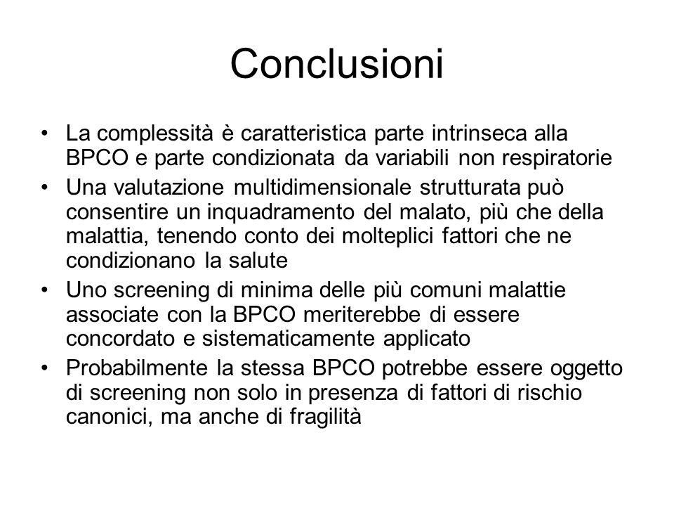 Conclusioni La complessità è caratteristica parte intrinseca alla BPCO e parte condizionata da variabili non respiratorie Una valutazione multidimensi