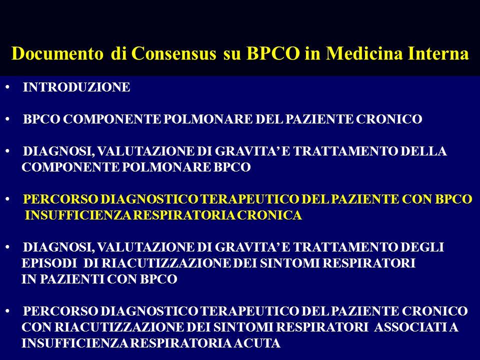 Percorso diagnostico terapeutico del paziente con insufficienza respiratoria cronica Alfredo Potena OSSIGENOTERAPIA Lefficacia dellOssigenoterapia domiciliare a lungo termine è stata dimostrata nei pazienti BPCO affetti da insufficienza respiratoria cronica stabilizzata che presentino queste caratteristiche: LOLT è in grado di ridurre la mortalità nei pazienti più gravi con FEV1 < 30% pred e ipossiemia a riposo 55 mmHg è possibile estendere le indicazioni a valori di PaO2 PaO2 > 55 < 60 mmHg quando siano presenti Cor pulmonale cronico, cardiopatia ischemica, poliglobulia, segni di ipossia cerebrale La somministrazione di OLT non deve essere inferiore alle 15 ore al dì.
