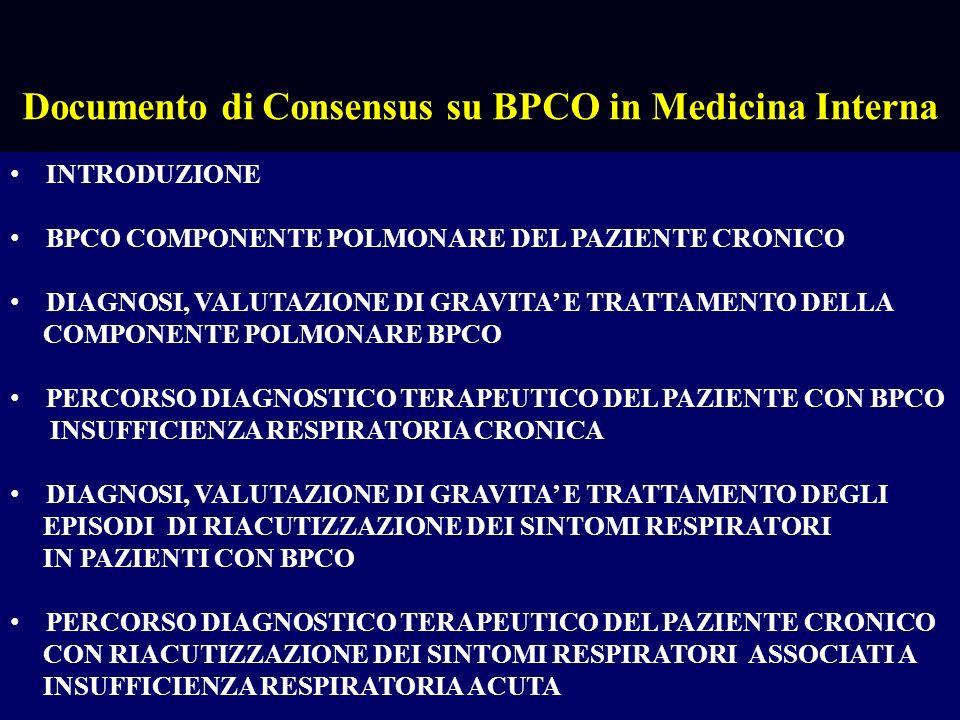 DIAGNOSI E TRATTAMENTO DELLE COMORBIDITA NEL PAZIENTE CON BPCO E MALATTIE CRONICHE COMPLESSE RIABILITAZIONE DEL PAZIENTE CON BPCO E/O MALATTIE CRONICHE COMPLESSE ORGANIZZAZIONE ASSISTENZIALE PER INTENSITÀ DI CURA PER PAZIENTI CON BPCO E/0 MALATTIE CRONICHE COMPLESSE ASSISTENZA INFERMIERISTICA NEL PAZIENTE CON BPCO E/O MALATTIE CRONICHE COMPLESSE Documento di Consensus su BPCO in Medicina Interna TRATTAMENTO DELLE COMPORBIDITA NEL PAZIENTE CON BPCO E/O MALATTIE CRONICHE COMPLESSE