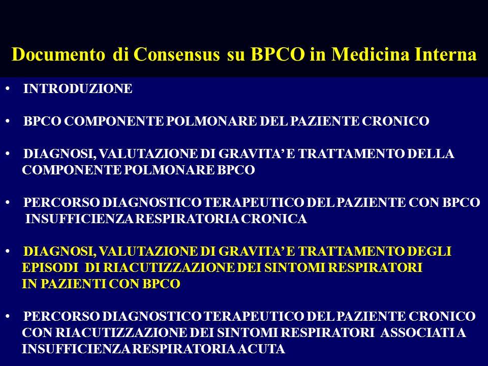 INTRODUZIONE BPCO COMPONENTE POLMONARE DEL PAZIENTE CRONICO DIAGNOSI, VALUTAZIONE DI GRAVITA E TRATTAMENTO DELLA COMPONENTE POLMONARE BPCO PERCORSO DIAGNOSTICO TERAPEUTICO DEL PAZIENTE CON BPCO INSUFFICIENZA RESPIRATORIA CRONICA DIAGNOSI, VALUTAZIONE DI GRAVITA E TRATTAMENTO DEGLI EPISODI DI RIACUTIZZAZIONE DEI SINTOMI RESPIRATORI IN PAZIENTI CON BPCO PERCORSO DIAGNOSTICO TERAPEUTICO DEL PAZIENTE CRONICO CON RIACUTIZZAZIONE DEI SINTOMI RESPIRATORI ASSOCIATI A INSUFFICIENZA RESPIRATORIA ACUTA Documento di Consensus su BPCO in Medicina Interna