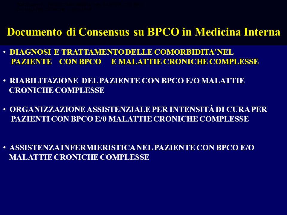 DIAGNOSI E TRATTAMENTO DELLE COMORBIDITA NEL PAZIENTE CON BPCO E MALATTIE CRONICHE COMPLESSE RIABILITAZIONE DEL PAZIENTE CON BPCO E/O MALATTIE CRONICH