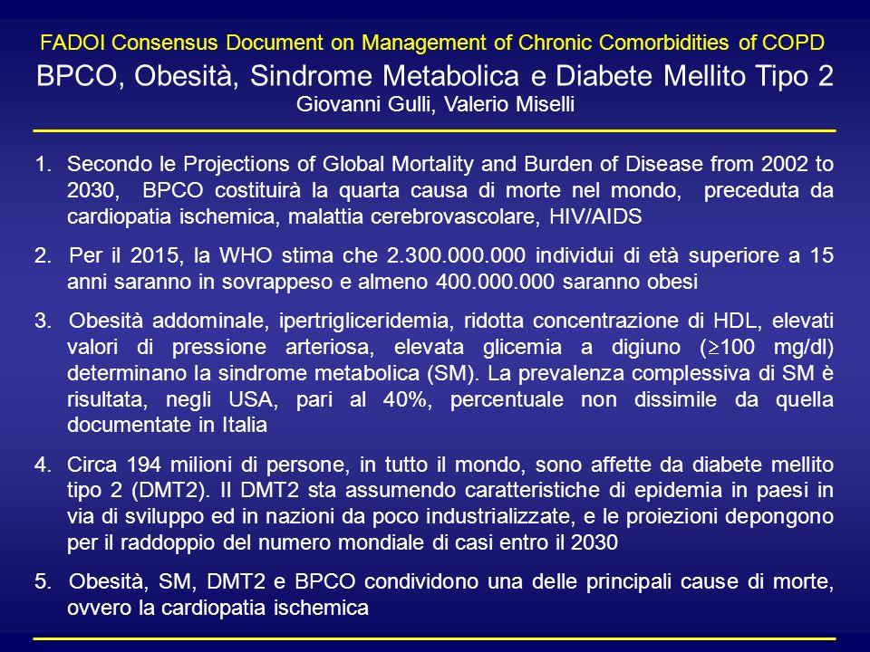 1.Secondo le Projections of Global Mortality and Burden of Disease from 2002 to 2030, BPCO costituirà la quarta causa di morte nel mondo, preceduta da