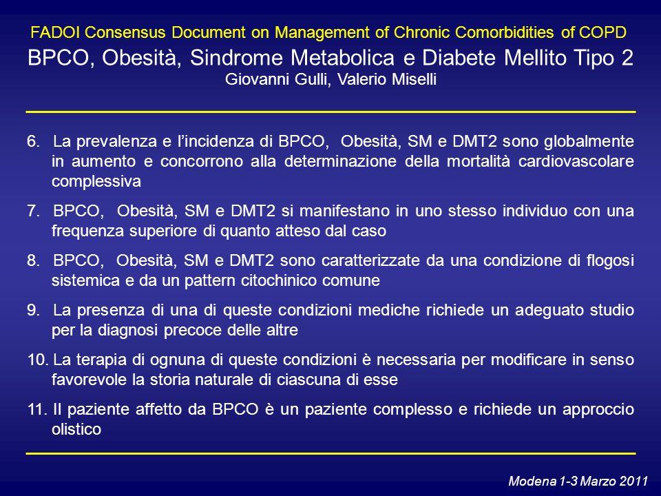 FADOI Consensus Document on Management of Chronic Comorbidities of COPD BPCO, Obesità, Sindrome Metabolica e Diabete Mellito Tipo 2 Giovanni Gulli, Va