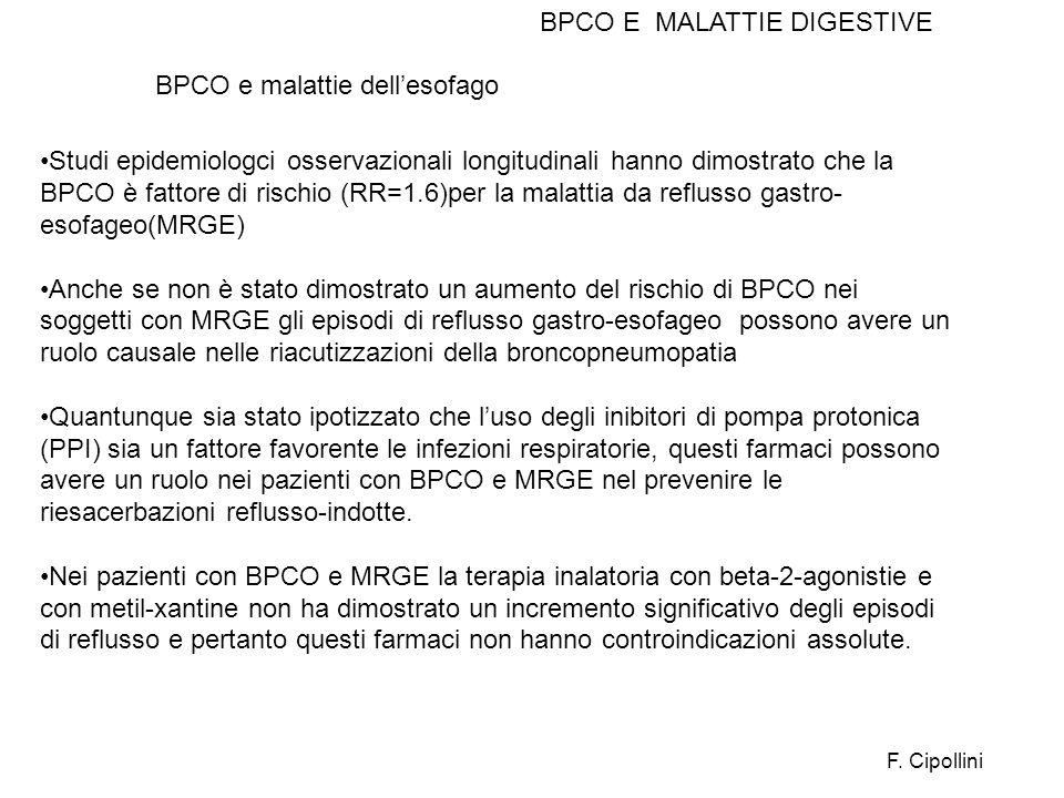 Studi epidemiologci osservazionali longitudinali hanno dimostrato che la BPCO è fattore di rischio (RR=1.6)per la malattia da reflusso gastro- esofage