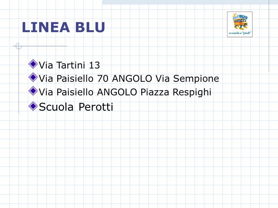 LINEA BLU Via Tartini 13 Via Paisiello 70 ANGOLO Via Sempione Via Paisiello ANGOLO Piazza Respighi Scuola Perotti