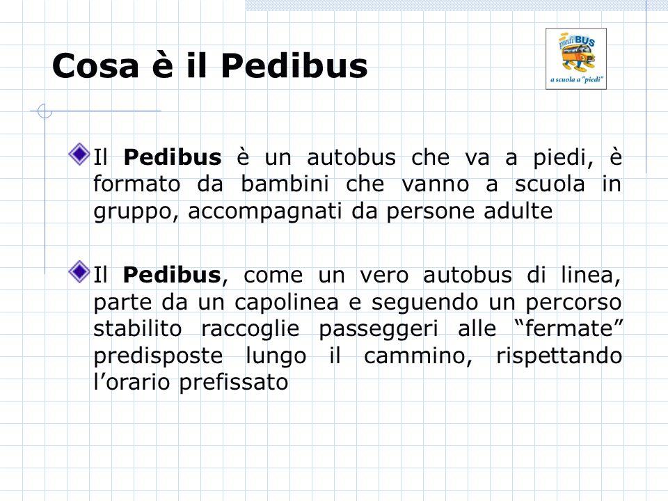 Cosa è il Pedibus Il Pedibus è un autobus che va a piedi, è formato da bambini che vanno a scuola in gruppo, accompagnati da persone adulte Il Pedibus