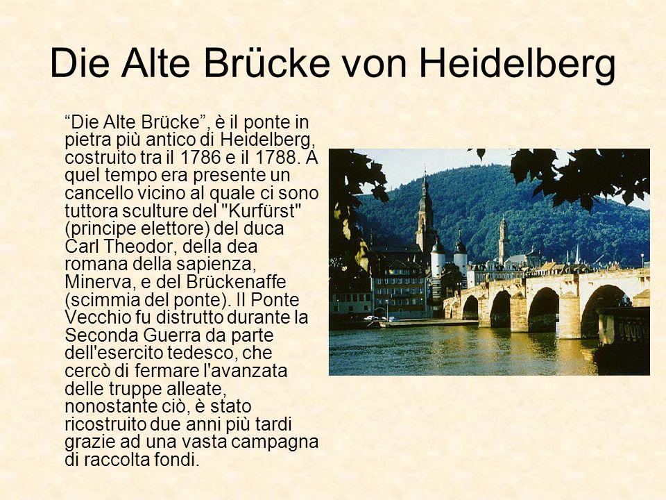 Die Alte Brücke von Heidelberg Die Alte Brücke, è il ponte in pietra più antico di Heidelberg, costruito tra il 1786 e il 1788. A quel tempo era prese