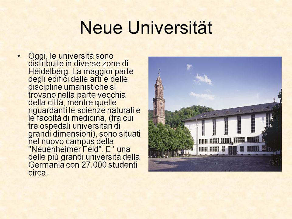 Neue Universität Oggi, le università sono distribuite in diverse zone di Heidelberg. La maggior parte degli edifici delle arti e delle discipline uman