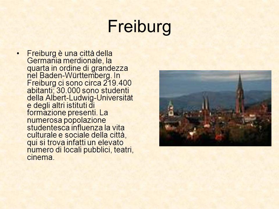 Freiburg Freiburg è una città della Germania merdionale, la quarta in ordine di grandezza nel Baden-Württemberg. In Freiburg ci sono circa 219.400 abi