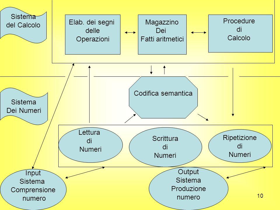 10 Sistema del Calcolo Elab. dei segni delle Operazioni Magazzino Dei Fatti aritmetici Procedure di Calcolo Codifica semantica Input Sistema Comprensi