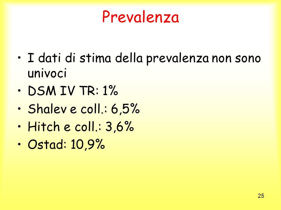 25 Prevalenza I dati di stima della prevalenza non sono univoci DSM IV TR: 1% Shalev e coll.: 6,5% Hitch e coll.: 3,6% Ostad: 10,9%