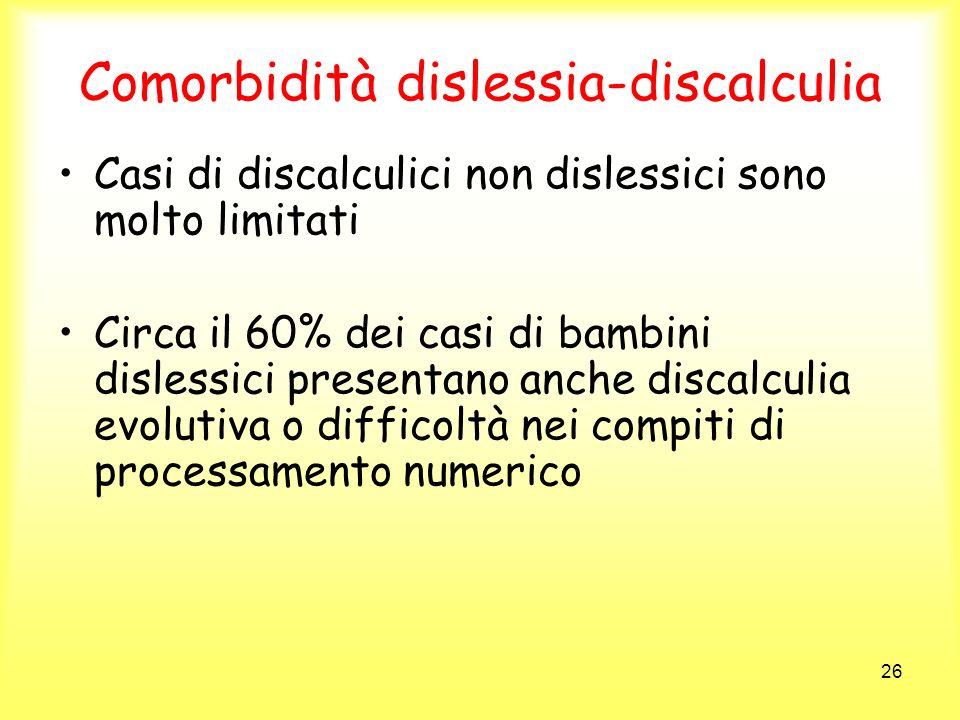 26 Comorbidità dislessia-discalculia Casi di discalculici non dislessici sono molto limitati Circa il 60% dei casi di bambini dislessici presentano an