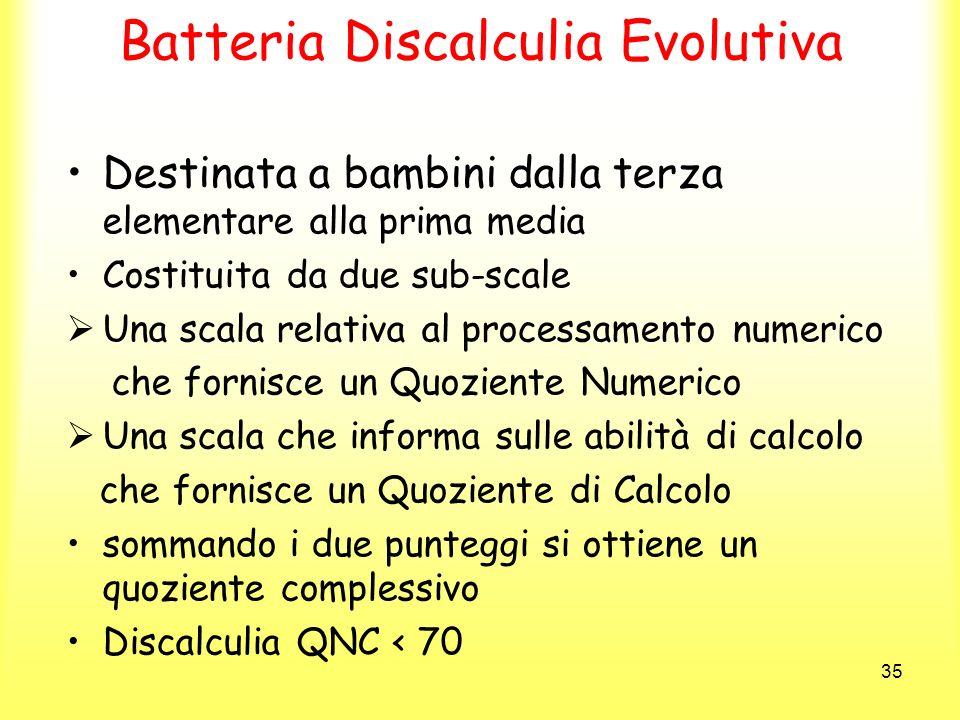 35 Batteria Discalculia Evolutiva Destinata a bambini dalla terza elementare alla prima media Costituita da due sub-scale Una scala relativa al proces
