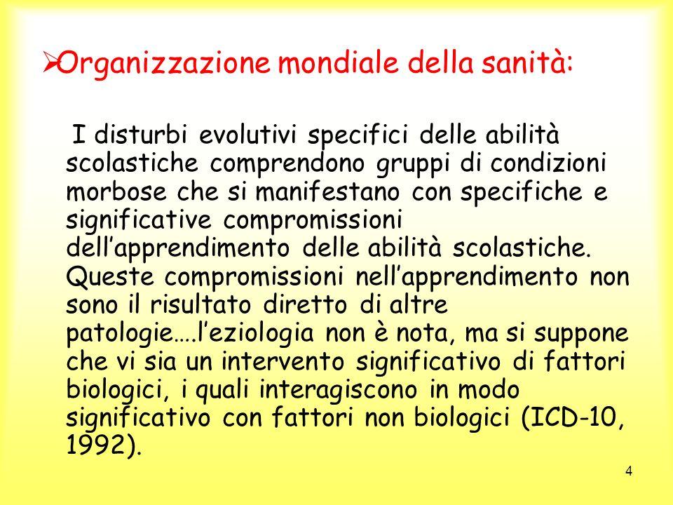 4 Organizzazione mondiale della sanità: I disturbi evolutivi specifici delle abilità scolastiche comprendono gruppi di condizioni morbose che si manif
