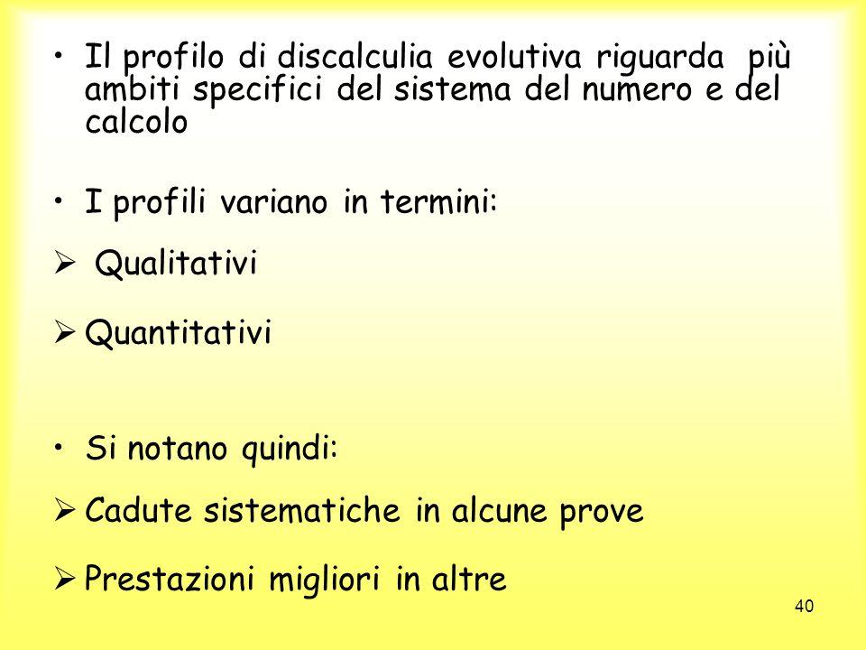 40 Il profilo di discalculia evolutiva riguarda più ambiti specifici del sistema del numero e del calcolo I profili variano in termini: Qualitativi Qu