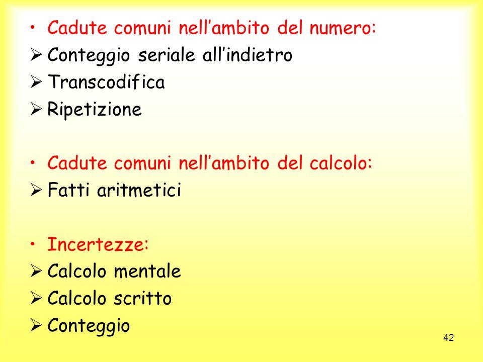 42 Cadute comuni nellambito del numero: Conteggio seriale allindietro Transcodifica Ripetizione Cadute comuni nellambito del calcolo: Fatti aritmetici