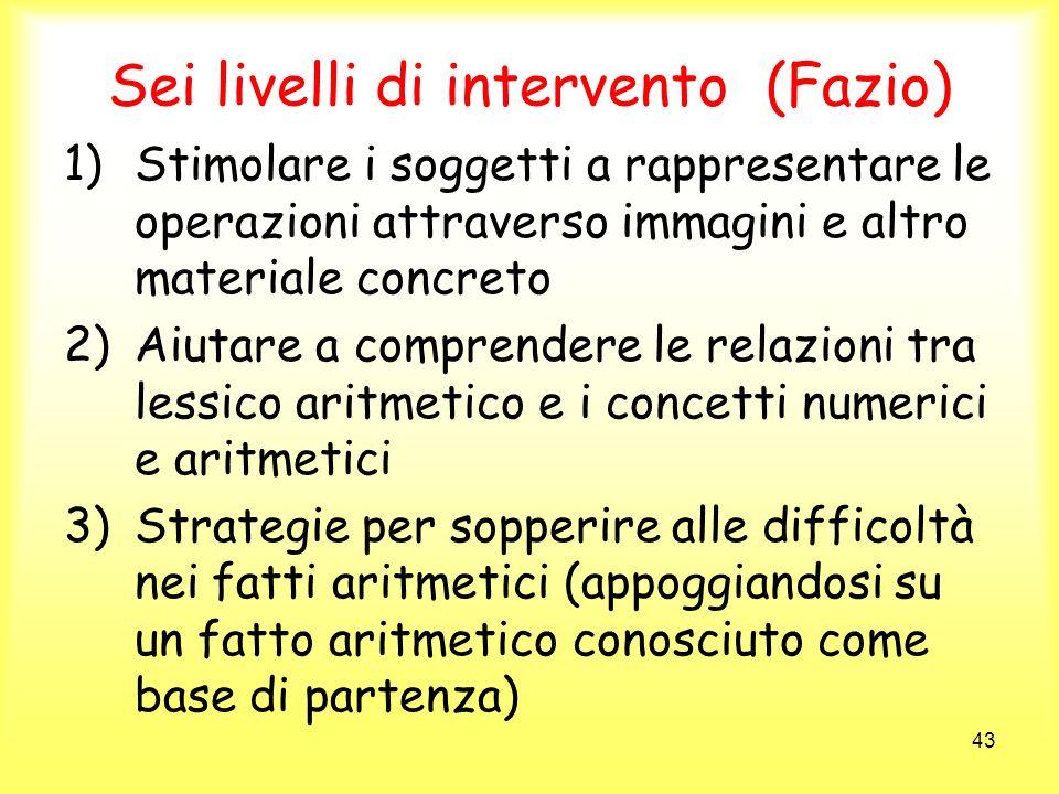 43 Sei livelli di intervento (Fazio) 1)Stimolare i soggetti a rappresentare le operazioni attraverso immagini e altro materiale concreto 2)Aiutare a c