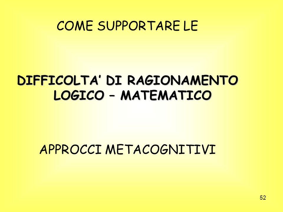 52 COME SUPPORTARE LE DIFFICOLTA DI RAGIONAMENTO LOGICO – MATEMATICO APPROCCI METACOGNITIVI